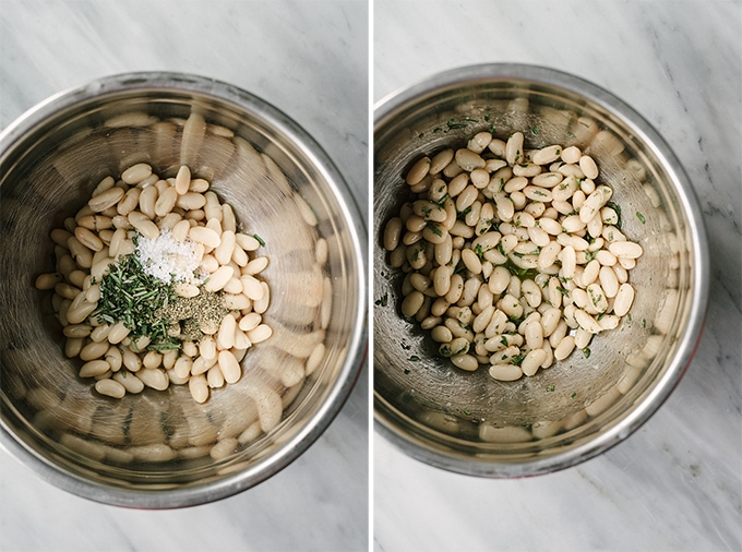 How to make rosemary marinated white bean bruschetta. Cooked white beans marinated with rosemary, extra virgin olive oil, champagne vinegar, salt and a pepper in a mixing bowl.