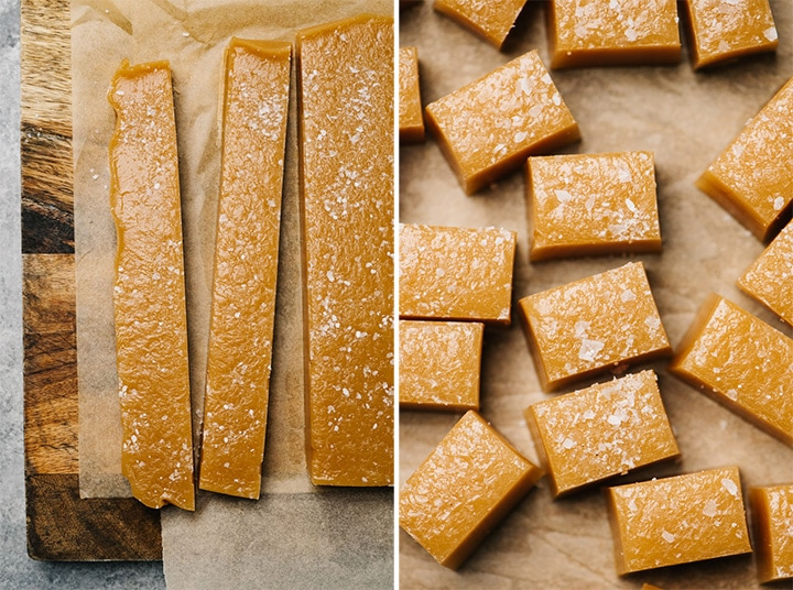 Left - caramel candy cut into long strips; salted caramels cut into bite-sized pieces.