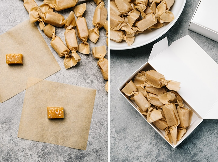 Left - two caramel candies sitting on parchment wrapping papers; wrapped caramel candies in a half pound candy box.