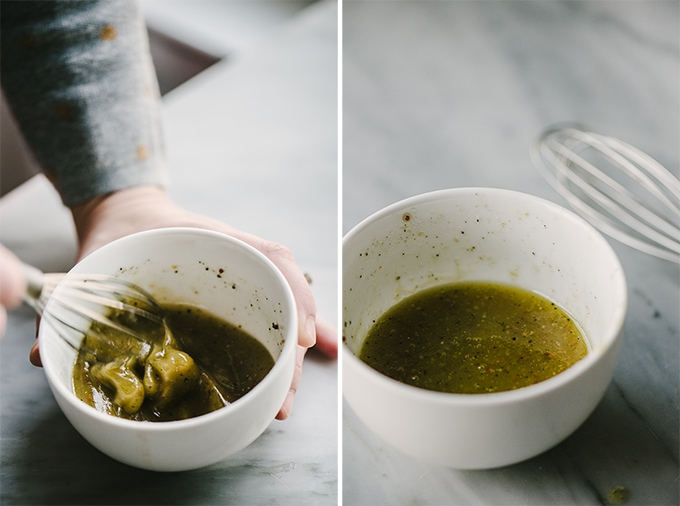 Left - a woman mixing vinaigrette in a small white bowl. Right - a small white bowl of vinaigrette for endive appetizer cup stuffing.