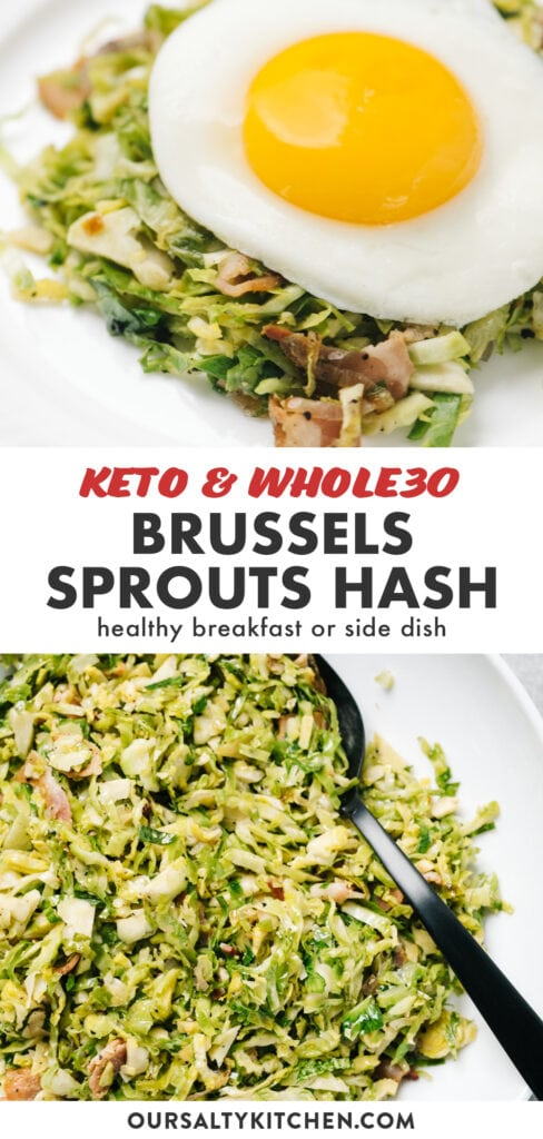 Pinterest collage for whole30 and keto brussels sprouts hash.