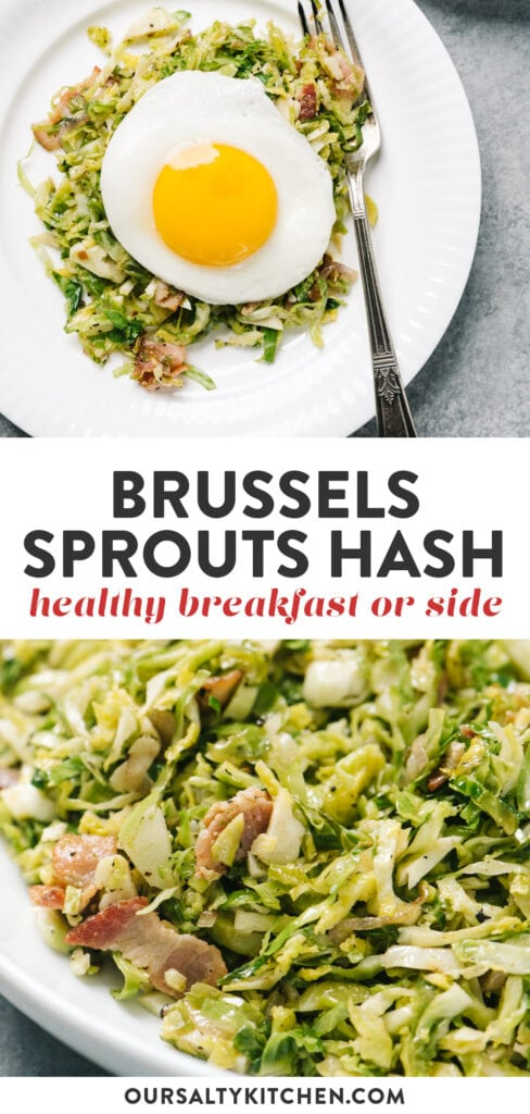 Pinterest collage for a brussels sprouts hash breakfast or side dish.