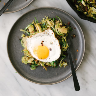 Brussels Sprouts Hash with Bacon and Egg