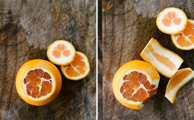 Left: an orange with the top and bottom sliced off. Right: an orange with several slices of peel and pith removed.
