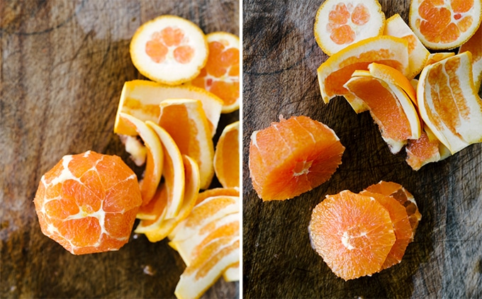"""Left: an orange with the peel and pith completely sliced. Right: a peeled orange sliced into 1/2"""" sections."""