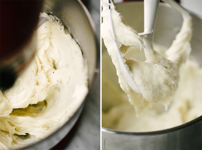 How to prepare garlic mashed yucca root, a paleo and whole30 side dish. Detail shots of yucca mash in the bowl of a stand mixer.