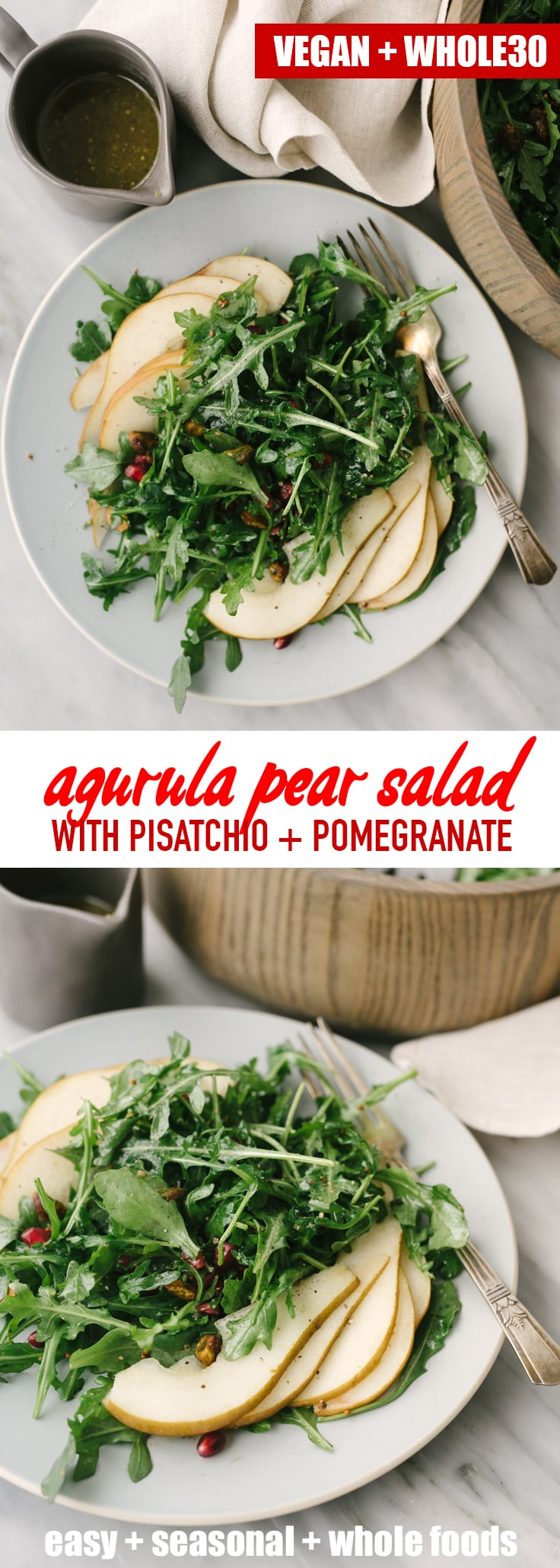 This arugula pear salad is a satisfying whole food recipe that's ready in mere minutes. This sweet and colorful winter salad is Whole30, vegan, and insanely delicious! #whole30 #vegan #arugulasalad #wholefoods #realfood