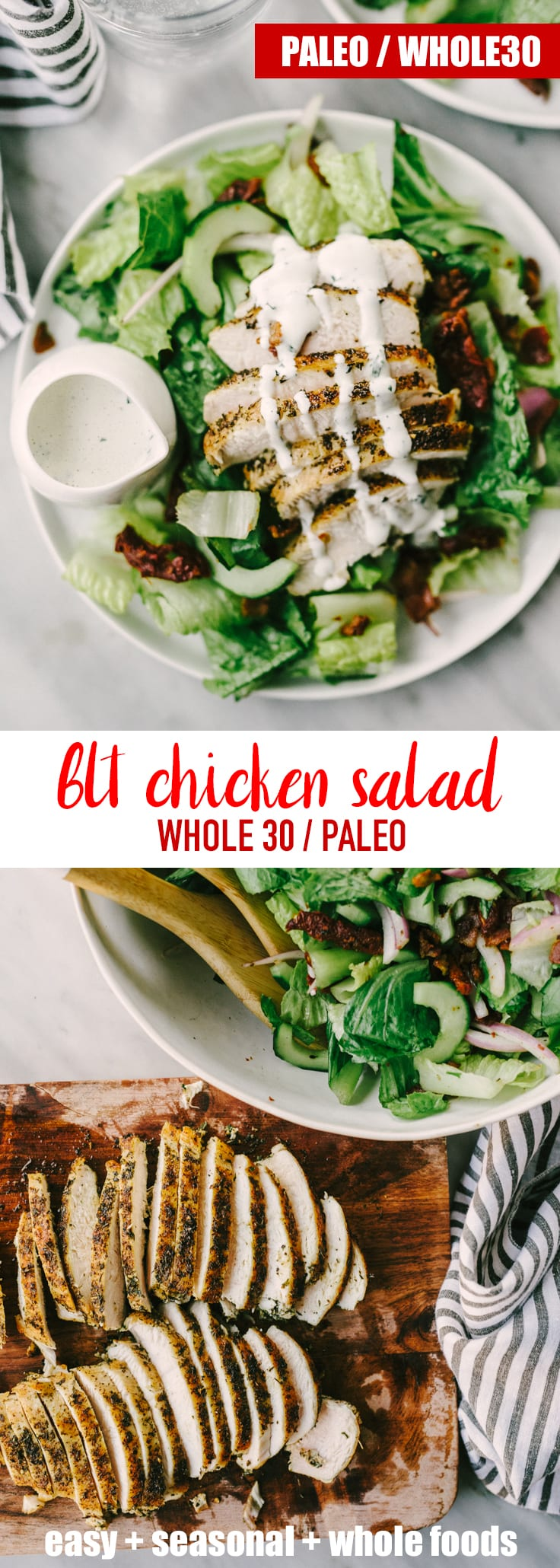 This Whole30 BLT chicken salad is a fast and easy weeknight dinner or packed lunch that you'll want to come back to again and again. It's tangy, crunchy, filling and ready in under 30 minutes. Easy, delicious Whole30 dinner. Fast and filling Whole30 packed lunch. #whole30 #paleo #blt #chickensalad #realfood #wholefoods