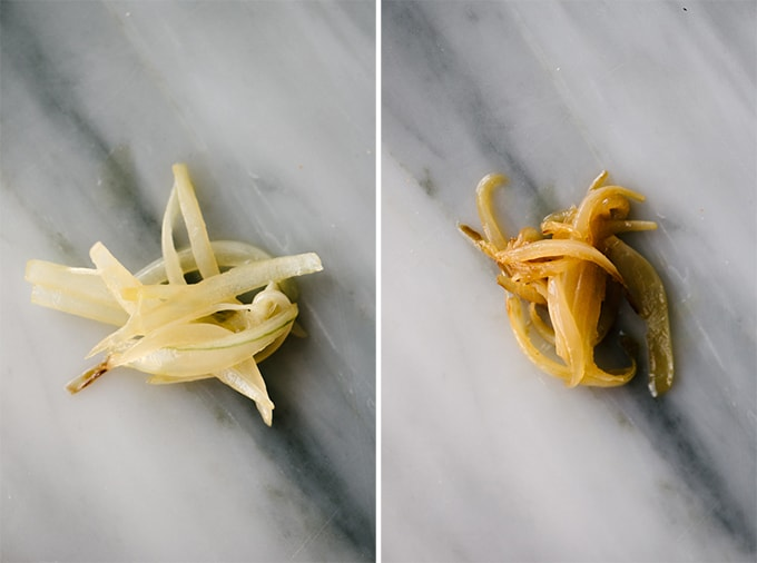 How to make caramelized onions for whole30 / paleo potato onion soup. Sauteed onions after ten minutes (left; translucent and lightly golden) and after twenty minutes (right; medium golden).