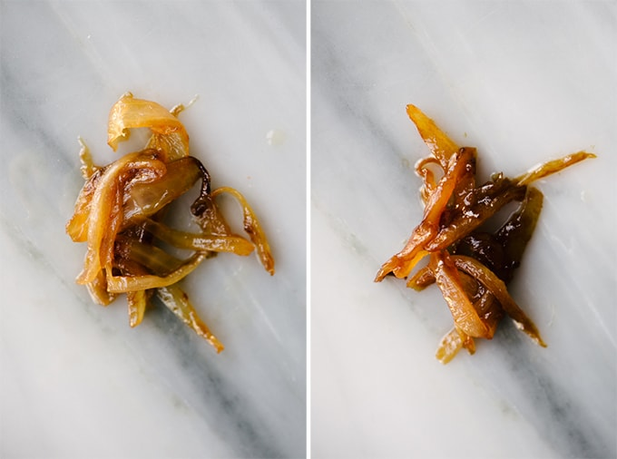 How to make caramelized onions for whole30 / paleo potato onion soup. Sauteed onions after 30 minutes (left; deep golden brown) and completely caramelized (right; deep and uniformly caramel colored).