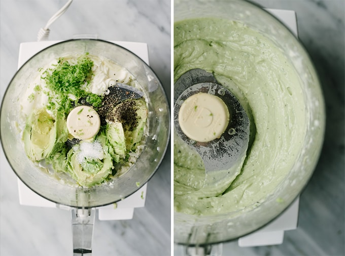 Process shots showing how to make avocado aioli. On the right, avocado, paleo mayo, lime zest and seasoning in the bowl of a food processor. On the right, smooth and creamy avocado aioli ready to be served.