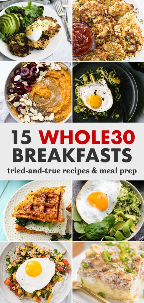 Pinterest collage for a round-up of Whole30 breakfast ideas and meal prep.