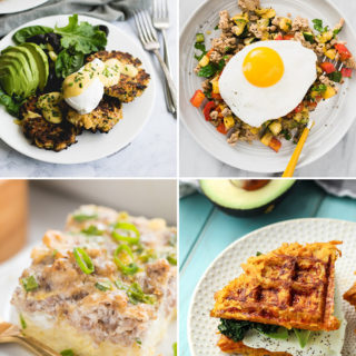 A collage of Whole30 breakfast recipes.