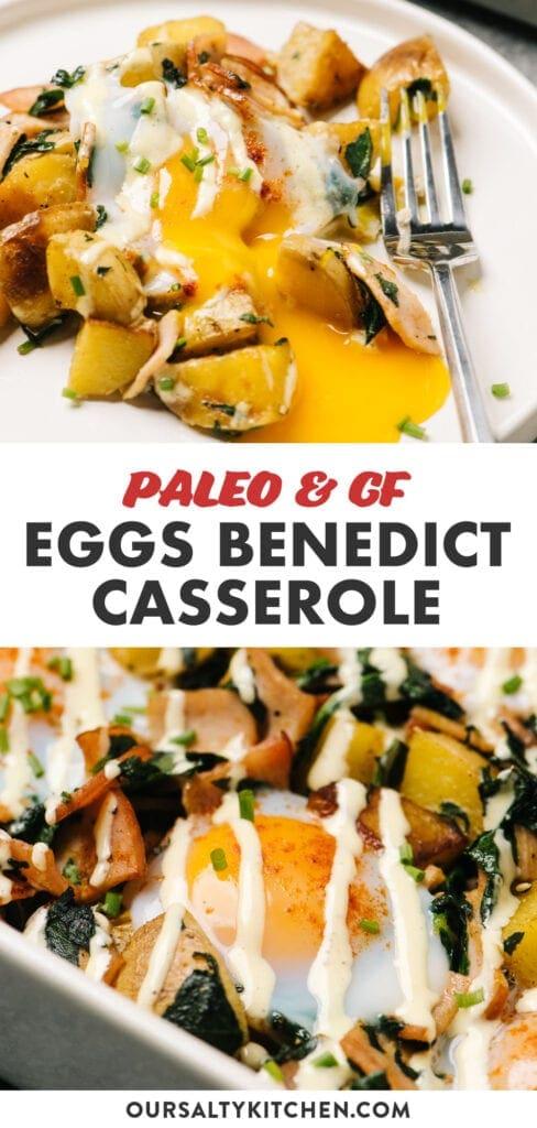 Pinterest collage for a gluten free eggs benedict casserole recipe.