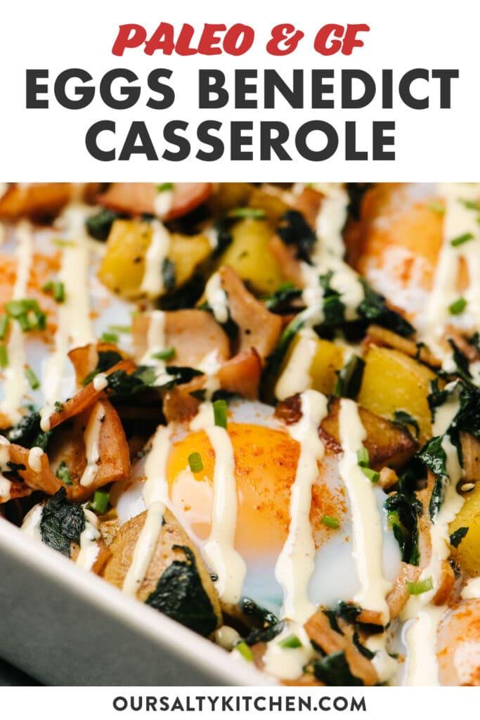 Pinterest image for a gluten free eggs benedict casserole recipe.
