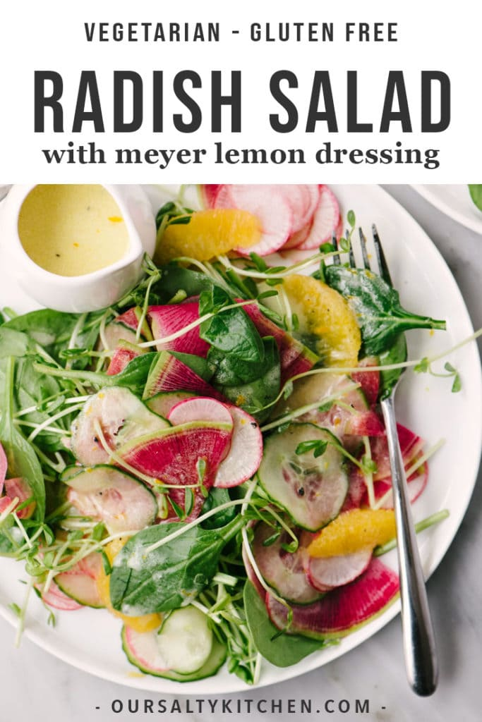 Radishes are rad. Yes? Yes! If you need convincing, give this radish salad with pea shoots, cucumber, oranges, and meyer lemon vinaigrette a whirl. This vegetarian and gluten free salad recipe is the very best of seasonal produce and comes together super fast. If you love radishes, you need this sweet, tangy, earthy, and vibrant salad in your rotation ASAP.
