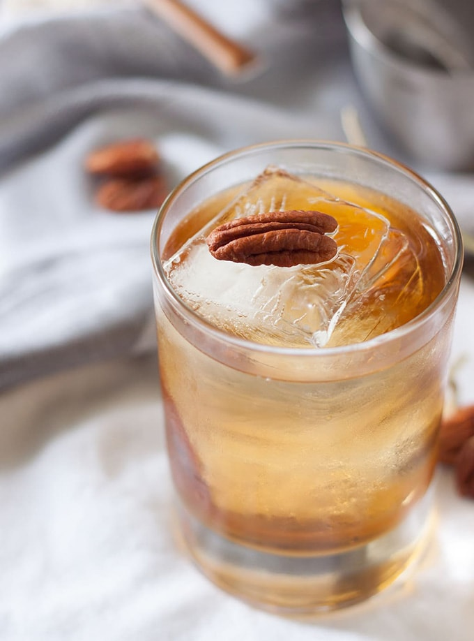 Pecan Pie flavored bourbon cocktail in a rocks glass.