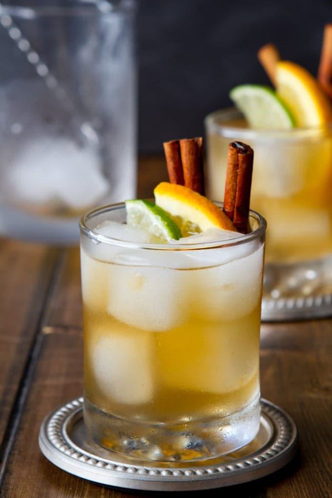 Two spiced Kentucky mule cocktails - a sweet and spiced winter bourbon cocktail recipe.