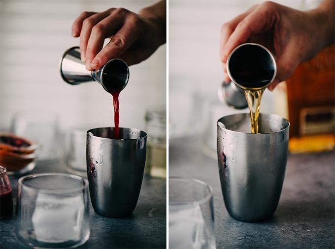 Left - a woman pour blood orange juice into a cocktail shaker. Right, a woman pouring bourbon into a cocktail shaker for a blood orange bourbon sour cocktail.