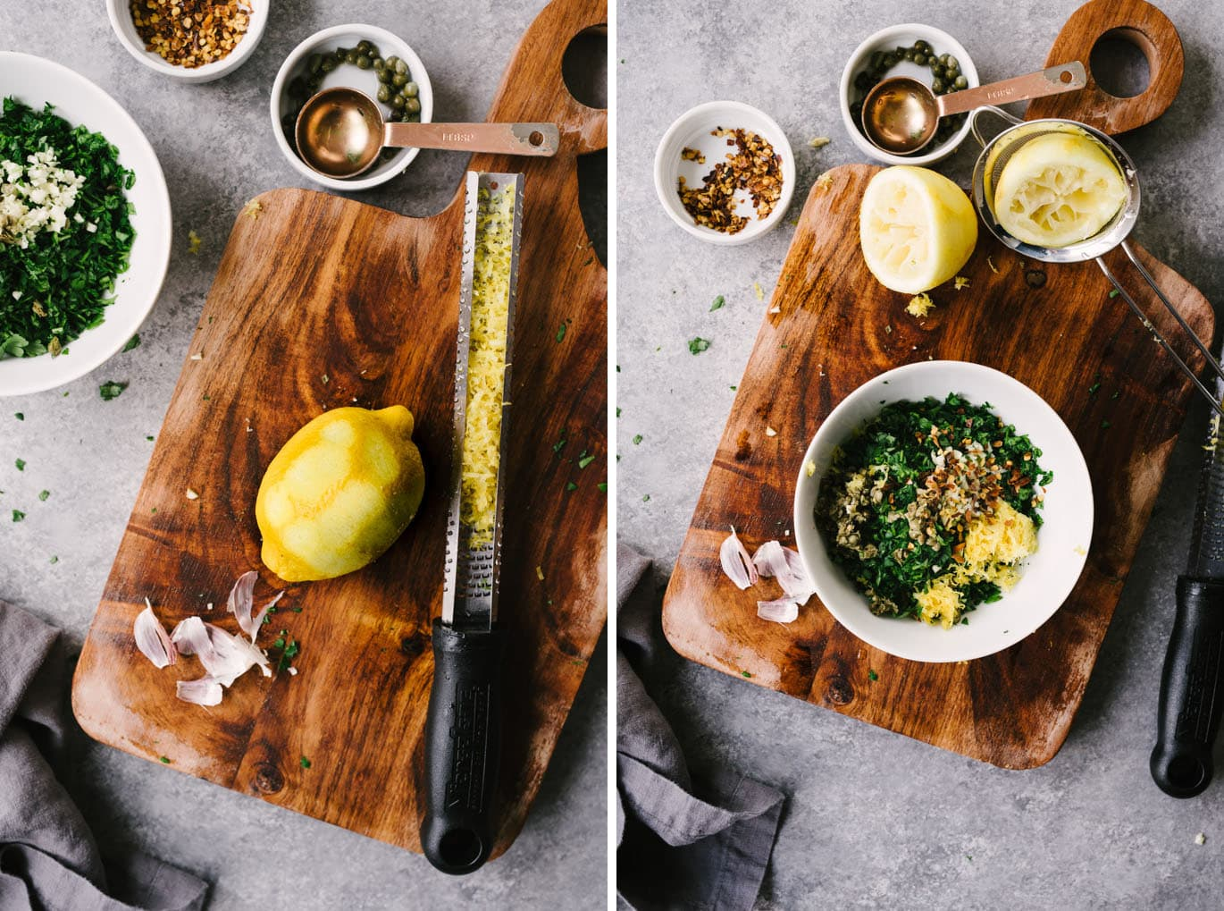 Left image - a zested lemon on a wood cutting board. Right image - a small white bowl filled with ingredients for italian salsa verde on a wood cutting board.