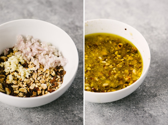 A collage showing how to make hazelnut vinaigrette with a photo of the finished vinaigrette in a white bowl.