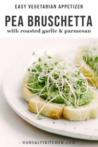 Roasted garlic and sweet pea puree on a piece of toasted sourdough.