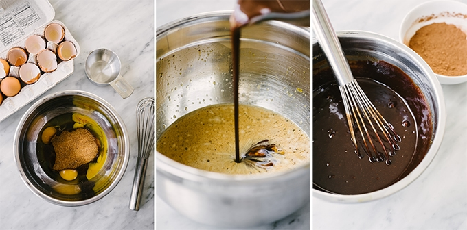 Three images showing how to whisk the eggs and coconut sugar for paleo brownies, then showing how to add the melted chocolate and coconut oil.