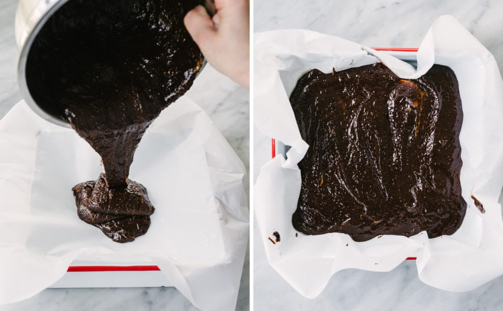Left, a woman pouring paleo brownie batter into a parchment lined baking dish. Right, paleo brownie batter in a baking dish ready to go into the oven.