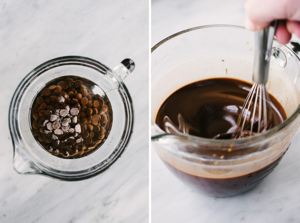 How to make paleo brownies. On the left, coconut oil and paleo chocolate chips in a glass mixing bowl. Right, a woman's hand whisking the melted chocolate chips into the coconut oil.