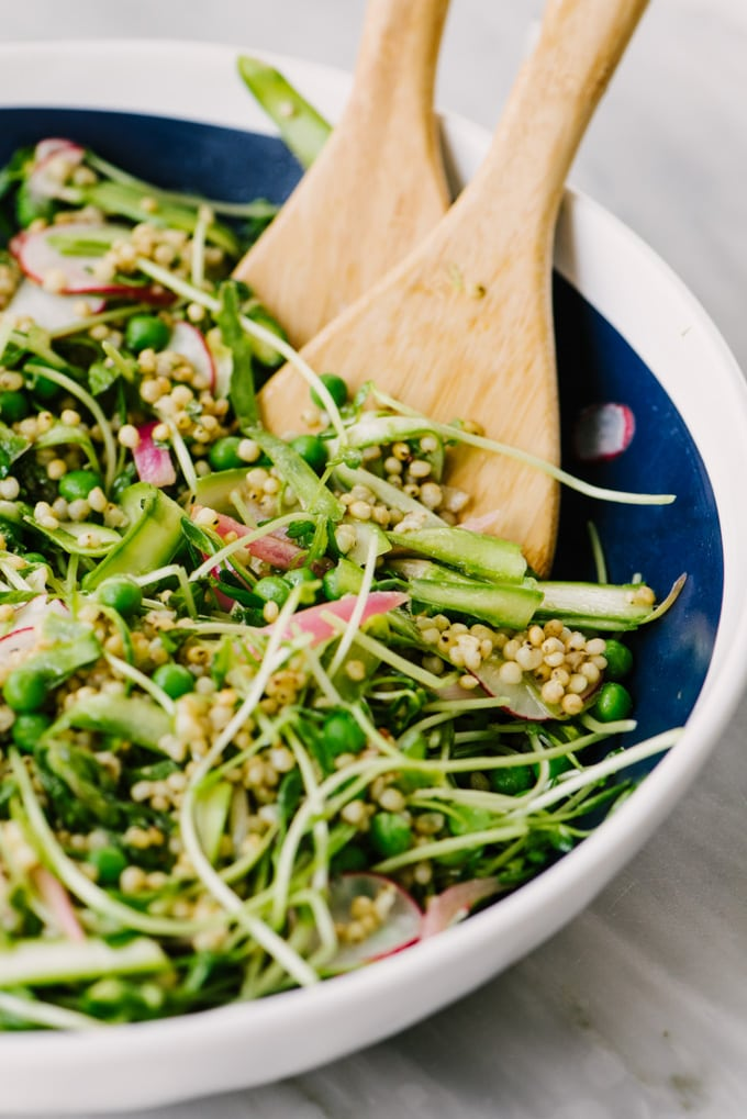 A blue and white bowl filled with a spring detox salad of sorghum, shaved asparagus, pea shoots, peas, radishes, pickled red onions, and a lemon vinaigrette.