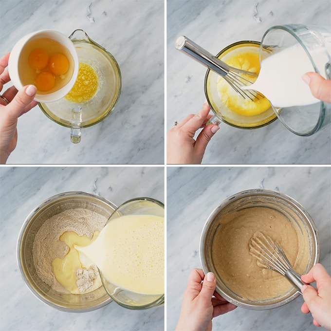 A series of four images showing how to properly prepare the batter for whole grain pancakes, concluding with an image showing the correct texture for the finished batter (slightly thicker than cake batter).