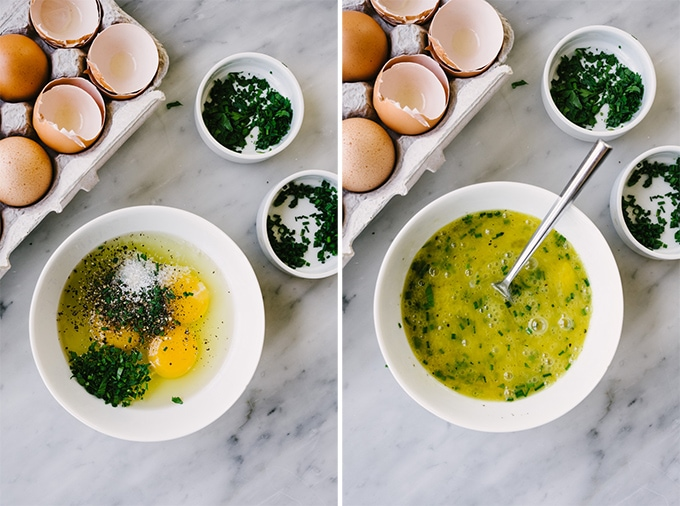Left - three eggs, chopped herbs, salt, and pepper in a small white bowl. Right, egg based for a crab omelet whisked and ready to be cooked.