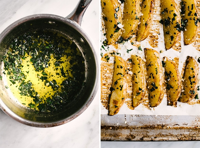 Left - basil garlic butter in a small sauce pan. Right - crispy baked oven fries brushed with basil butter.