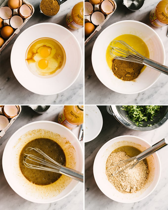 Four images showing how to make the batter for paleo zucchini bread with almond flour and coconut oil.