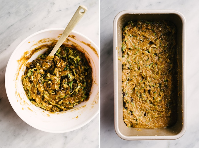 Left - a bowl of paleo zucchini batter. Right - an 8 inch bread pan filled with zucchini batter ready to be baked.