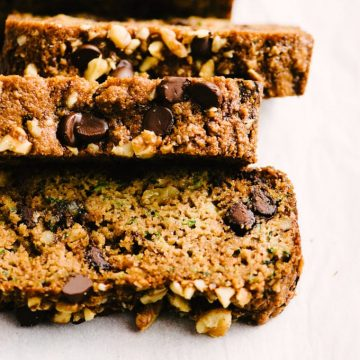 Three slices of fresh baked paleo zucchini bread with walnuts and chocolate chips.