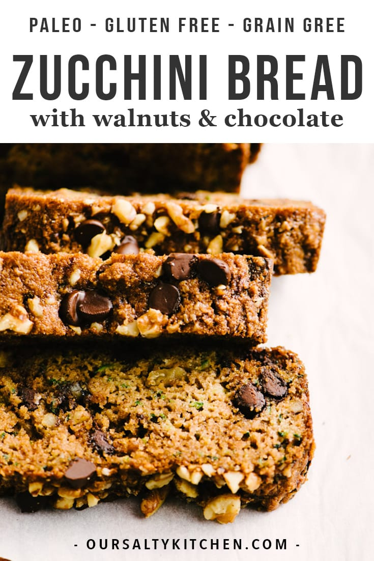 Zucchini bread is my favorite paleo treat, and this recipe is the best one I've tried! It's the perfect balance of crumbly and moist. This zucchini bread is made with almond flour, coconut oil, enjoy life chocolate chips, and walnuts. It's easy to pull together, relatively healthy and low carb, and out of this world delicious. Click to learn everything you need to know about baking paleo zucchini bread. #paleo #zucchinibread #healthybaking #dairyfree #glutenfree #grainfree