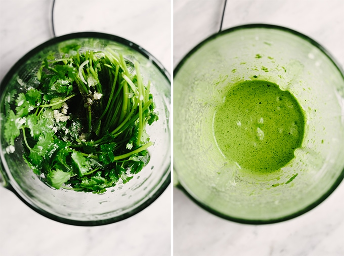 Two images showing how to make cilantro lime vinaigrette in a blender.