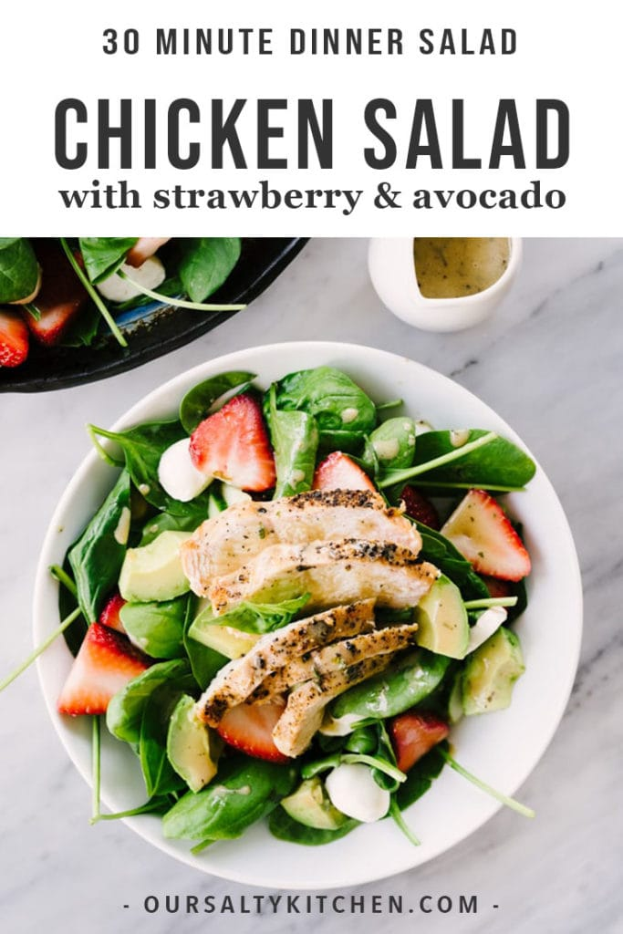 This strawberry chicken salad is a healthy, vibrant dinner recipe you'll crave again and again. This simple spring salad is made with smokey charcoal grilled chicken, sweet strawberries, avocados, and a creamy balsamic dressing. This dinner salad is fast (just 30 minutes), easy, and 100% addictive. Make it tonight!