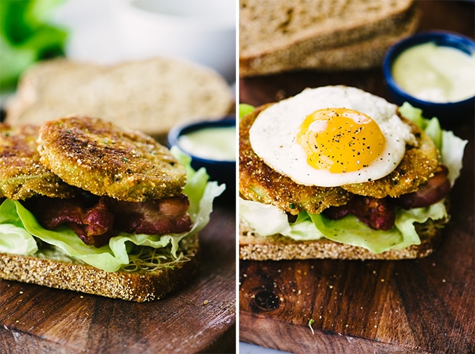 Making a fried green tomato BLT sandwich with a fried egg.