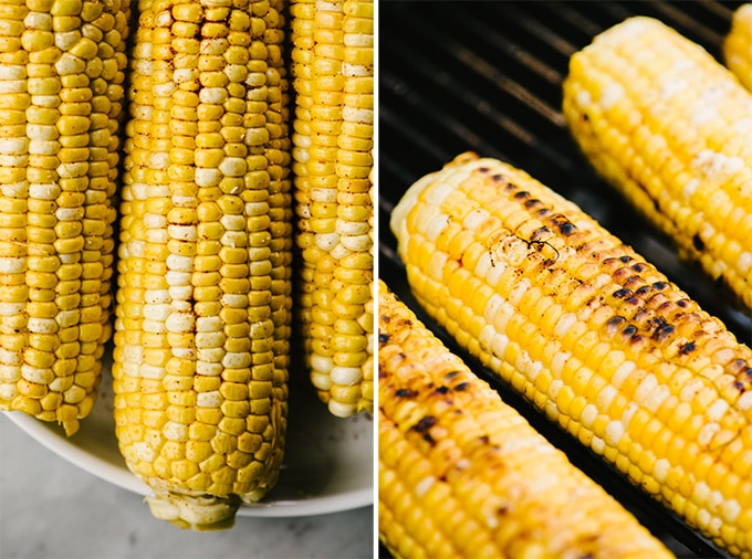 Left - three ears of sweet corn with olive oil and paprika. Right - charred sweet corn on a charcoal grill.