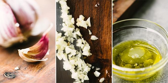 Ingredients for lemon thyme chicken skewer marinade - garlic, olive oil, and fresh lemon juice.