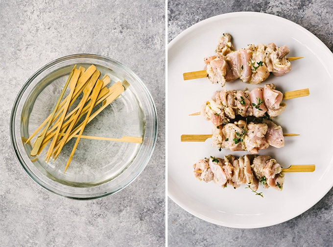 How to grill lemon thyme chicken skewers. Left - skewers soaking in water. Right, marinated lemon thyme chicken threaded onto skewers ready to be grilled.