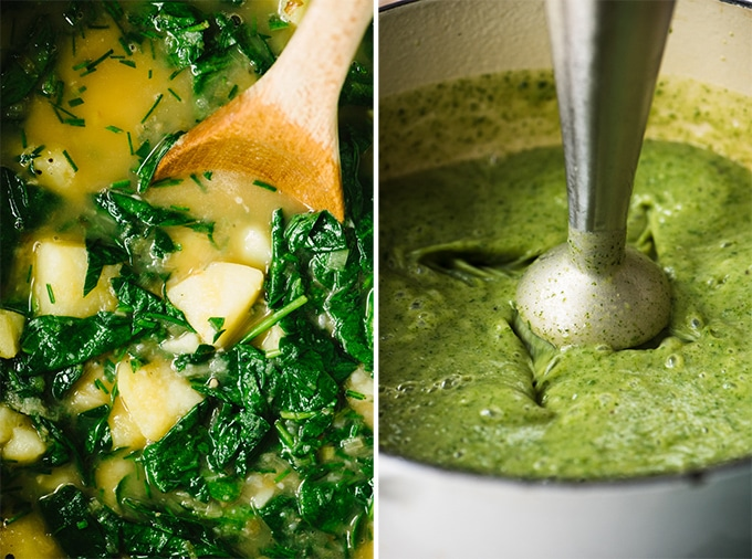 Left - spinach potato soup in a dutch oven before blending. Right - an immersion blender pureeing green soup in a dutch oven.