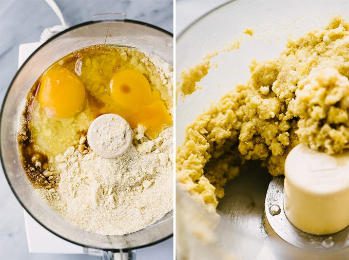 Two images showing how to make gluten free cobbler topping with cornmeal, oat flour, and almond flour.