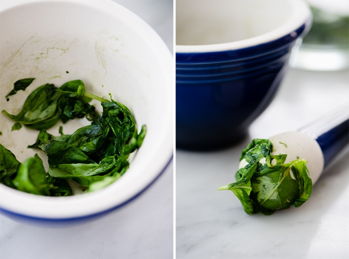 Left - muddled basil leaves in a mortar. Pestle covered in muddled basil leaves for mint and basil lemonade.