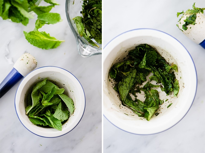 Left - fresh mint leaves in a mortar. Right, muddled mint leaves for mint and basil lemonade.