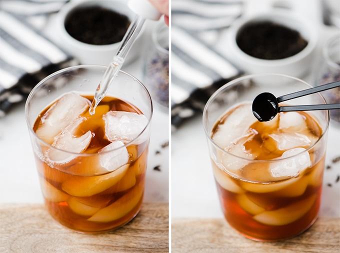 A woman's hand adding liquid stevia and then vanilla extract into an iced london fog earl grey tea latte recipe.