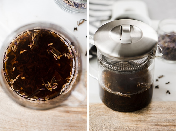 Earl grey tea and lavender leaves brewing in hot water for a london fog latte recipe.