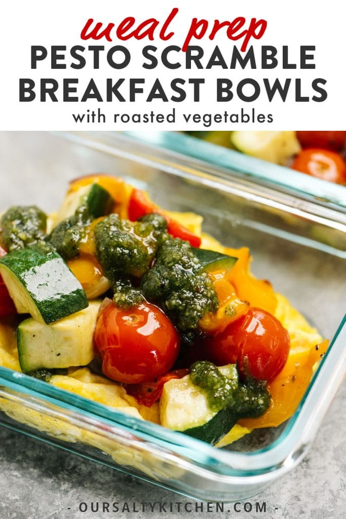 Pinterest image for whole30 breakfast bowls with eggs and pesto.